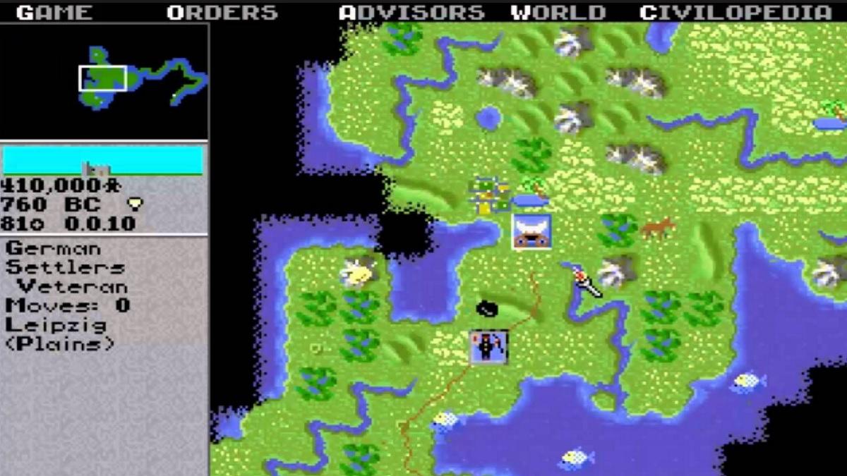 Screenshot of the original Civilization map