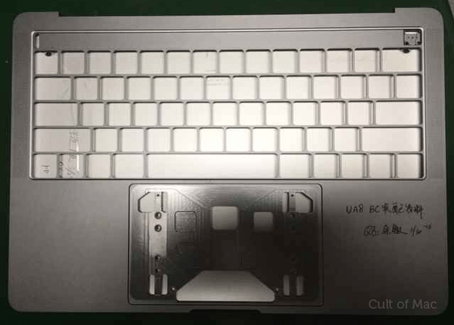Leaked photo reportedly shows the top of the next MacBook Pro keyboard chassis