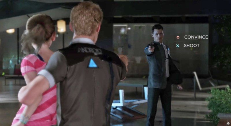 Connor confronts a rogue android in Detroit: Become Human.