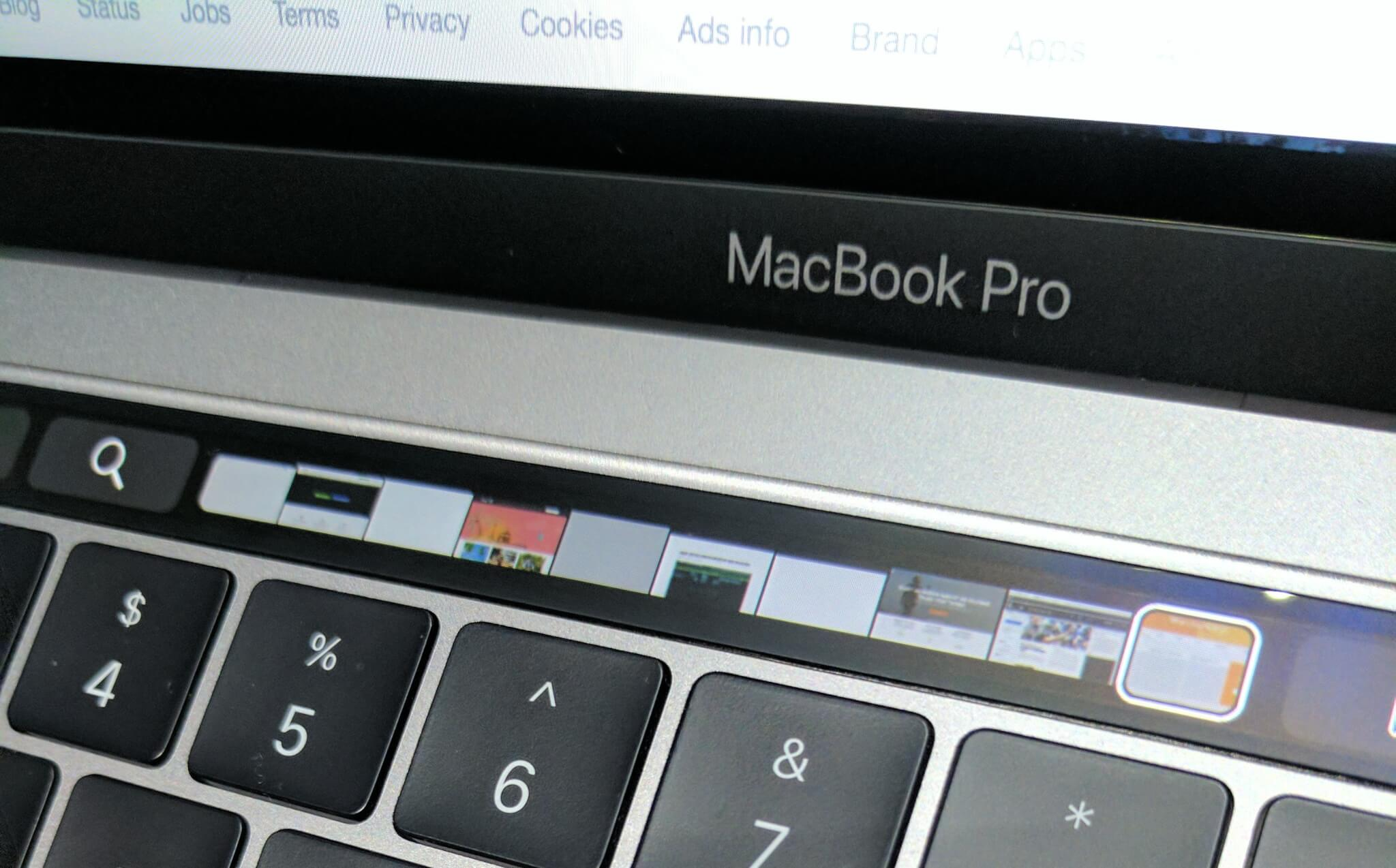 Touch Bar on the 2016 MacBook Pro.