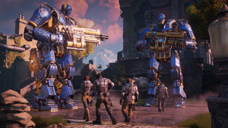 Giant mechs in Gears of War 4.