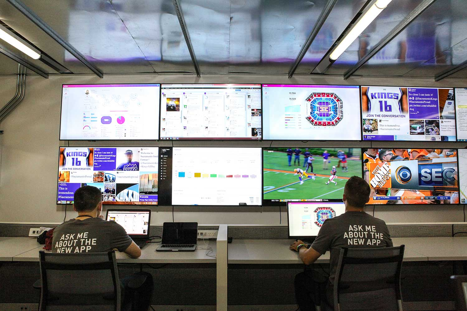 The Sacramento Kings' command and mission control in the Golden 1 Center.