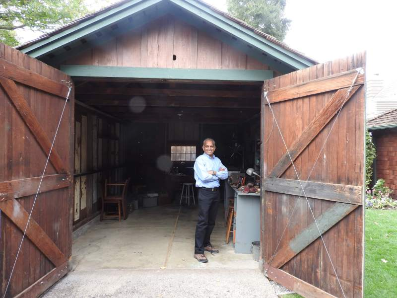 Chandrakant Patel is an HP senior fellow and chief engineer. He is standing at HP's original garage headquarters.