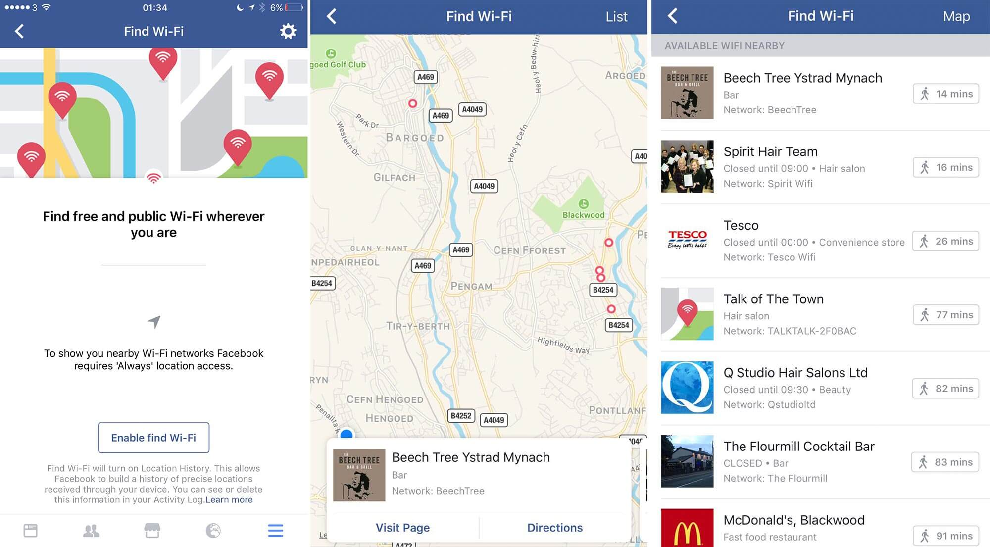 Facebook Wi-Fi discovery feature