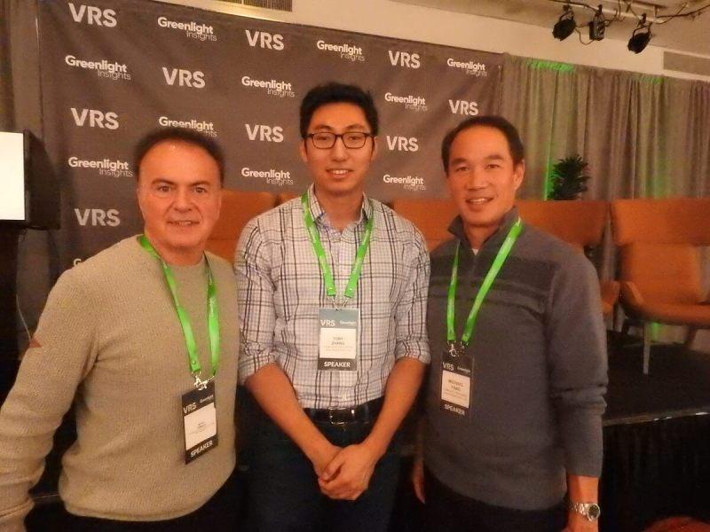 VR investors Marco Demiroz (left), Toby Zhang, and Michael Yang.