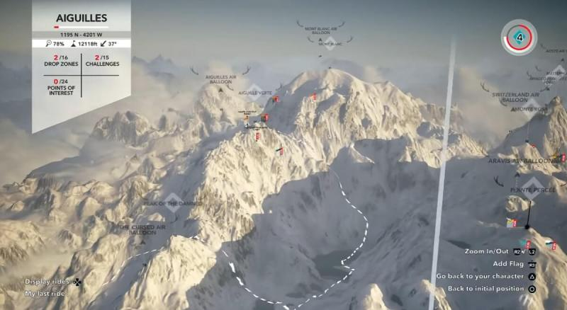 The overhead map of Steep shows the different peaks and runs of the Alps.