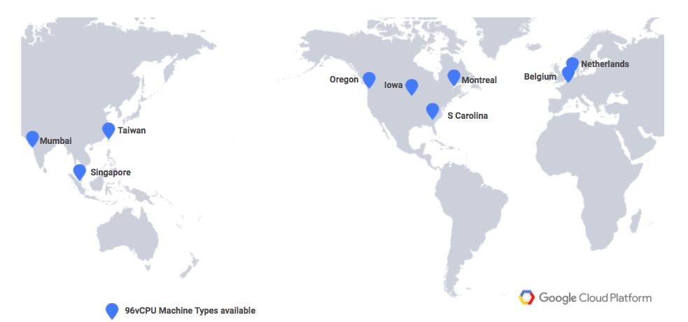 World map showing Google Cloud Platform regions with Intel Skylake 96 vCPU support