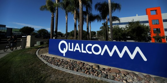 A sign on the Qualcomm campus is seen in San Diego, California, U.S. November 6, 2017.