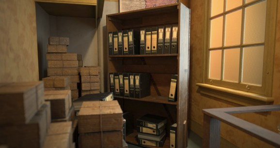 A bookcase opens into the secret annex of Anne Frank's house in Amsterdam.