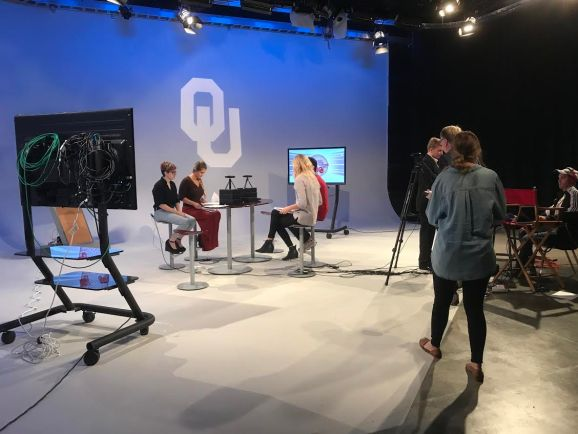 Students in the Routes TV Class at OU use the Vuze VR Camera