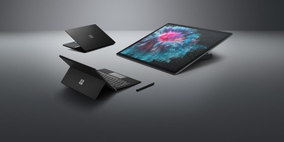 Black variants of the Surface Laptop, Surface Pro, and Surface Studio