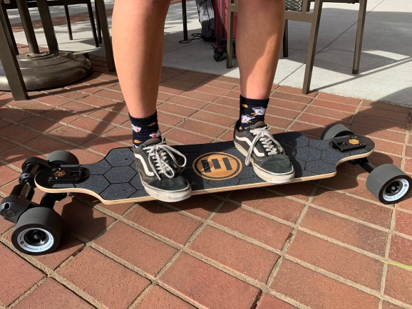 The Evolve electric skateboard.