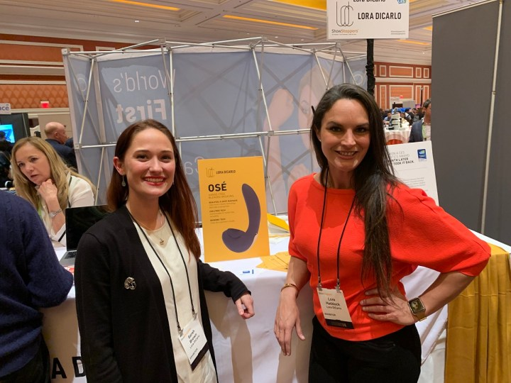 Sarah Brown (left) and Lora Haddock of Lora DiCarlo, maker of the Ose sex toy, at Showstoppers.