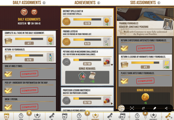 Assignments in the Harry Potter AR game, Wizards Unite!