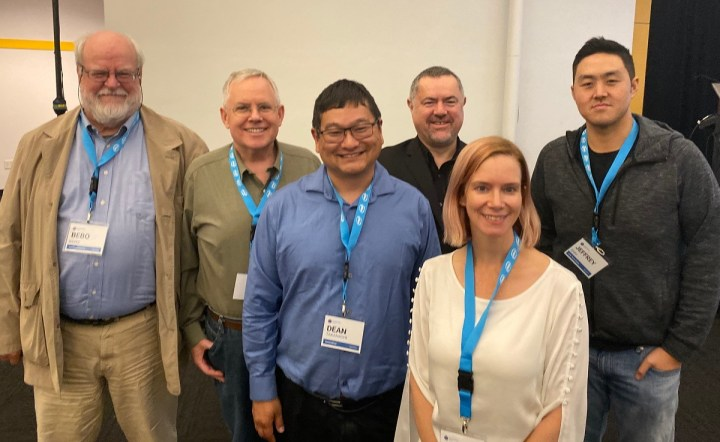 Left to right: Bebo White, Bill Rehbock, Dean Takahashi, xx, Jeffrey, and Jen MacLean.