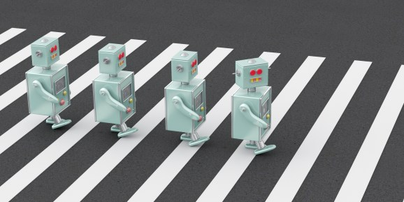 3D rendering of robots crossing a zebra crossing