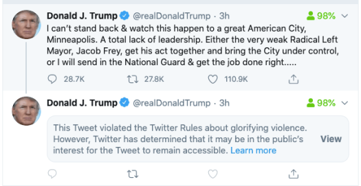 Twitter hides Trump's Minneapolis tweet and labels it for 'glorifying violence' 2