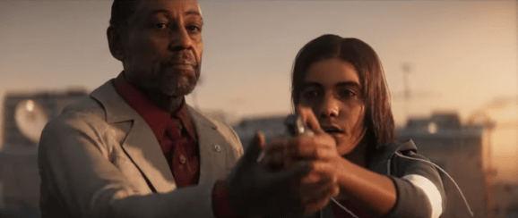 """El Presidente"" Anton Castillo (left) and his son talk about power in Far Cry 6. Actor Giancarlo Esposito plays Castillo."