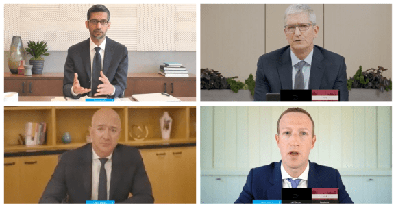 Google CEO Sundar Pichai, Amazon CEO Jeff Bezos, Apple CEO Tim Cook, and Facebook CEO Mark Zuckerberg speak before a July 29, 2020 House Judiciary committee meeting.