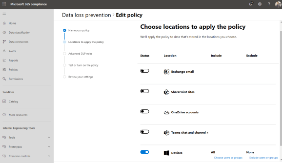 Screenshot of the Microsoft 365 compliance center