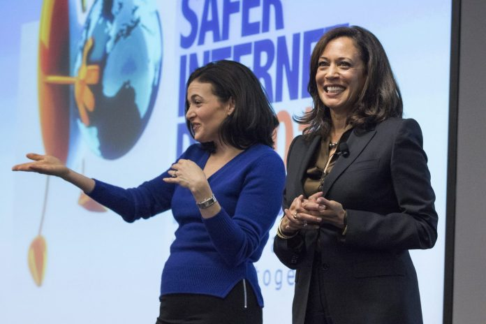 California Attorney General Kamala Harris, right, and Facebook Chief Operating Officer Sheryl Sandberg answer questions from students during the Safer Internet Day conference at Facebook in Menlo Park, Calif., on Tuesday, Feb. 10, 2015. (John Green/Bay Area News Group) (Photo by MediaNews Group/Bay Area News via Getty Images)