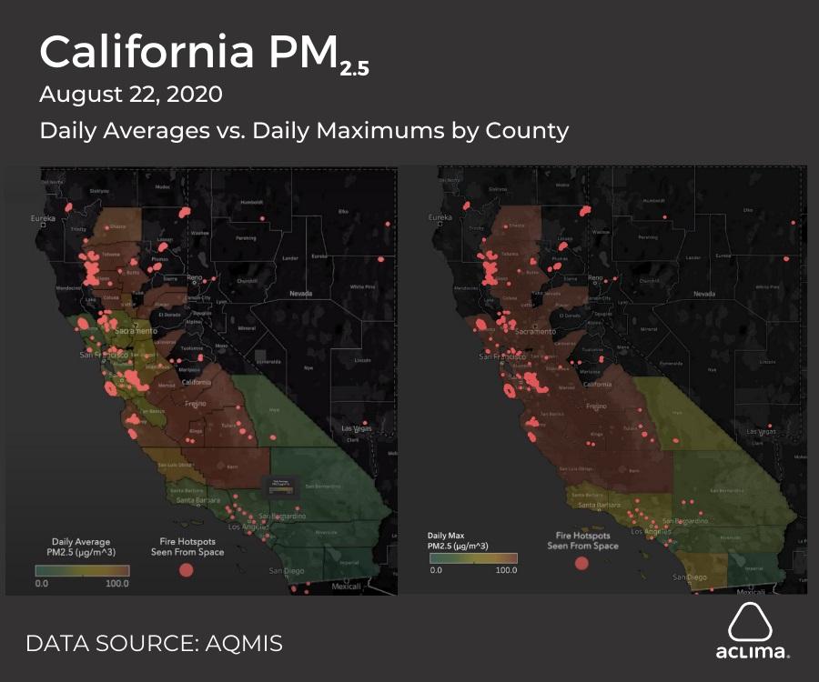 Στις 22 Αυγούστου, τα μέσα επίπεδα ημερήσιων PM2,5 στο Bay Area ήταν χαμηλότερα από την ενδοχώρα, αλλά τα ημερήσια υψηλά ήταν τουλάχιστον τόσο υψηλά στο Bay Area όσο και στην ενδοχώρα.