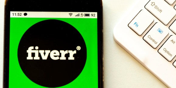 Fiverr logo seen displayed on a smartphone.