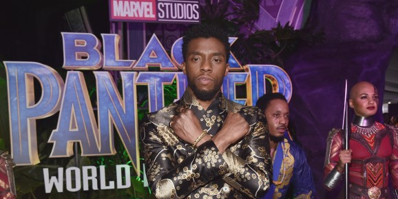 Chadwick Boseman at the Los Angeles World Premiere of Marvel Studios' Black Panther on January 29, 2018 in Hollywood, California.