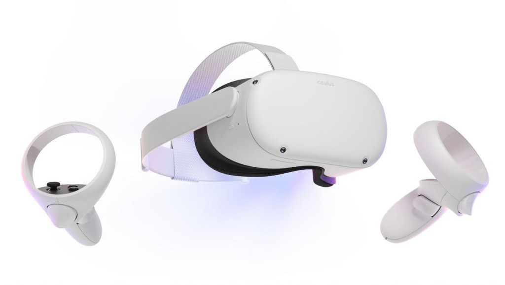 The Oculus Quest 2 has two redesigned hand controllers.