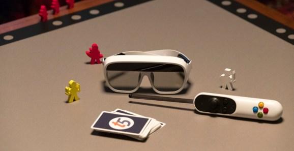 Tilt Five's AR googles, gameboard, and wand.