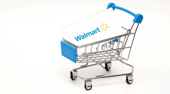 Shopping cart on a white background with the Walmart logo