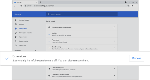 Chrome potentially harmful extensions disabled