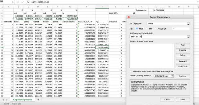 Excel Solver tool fine-tunes parameters