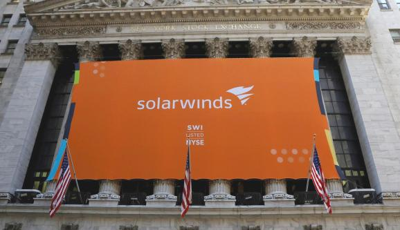 SolarWinds Corp banner hangs at the New York Stock Exchange (NYSE) on the IPO day of the company in New York, U.S., October 19, 2018.