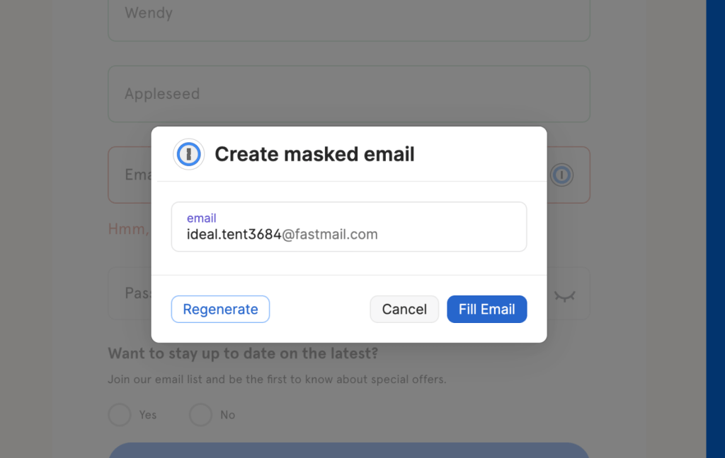 1Password: Create email alias
