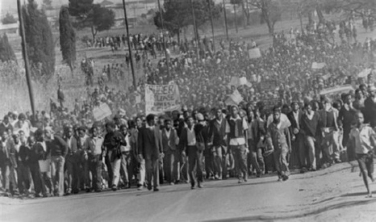 Black students demonstrate in protest against having to use Afrikaans language at school, in Soweto, in August 1976. After violent clashes in Soweto in June 1976, UN Security Council condemned South African government because of its apartheid policy and the repression of the Black protests in Soweto that caused hundreds of deaths and thousands of injured people.