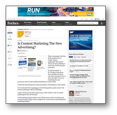 [그림5: 포브스 디지털 브랜드보이스에 소개된 SAP 블로그 콘텐츠 화면]