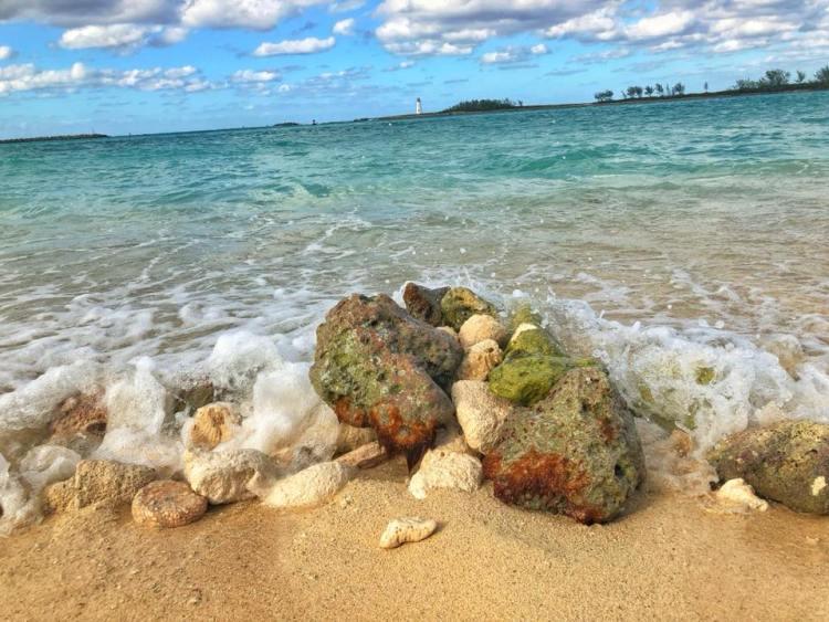 Waves Crashing On Rocks At Junkanoo Beach In Nassau Bahamas
