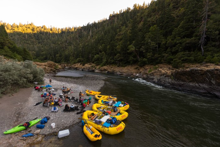 A of rafters enjoy off river activites on the Rogue River, OR