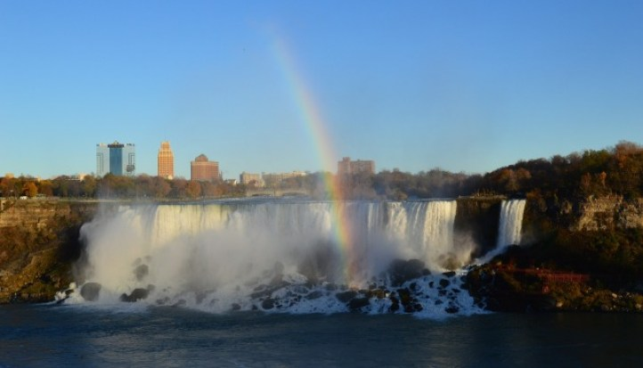 casino backdrop to the waterfall with a rainbow