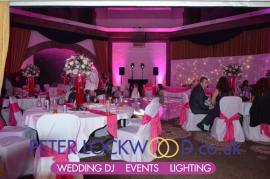 Shrigley Hall Hotel with pink uplighting