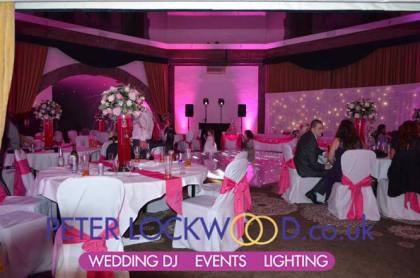 Shrigley Hall Hotel with pink uplighting