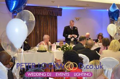 Wedding speaches with blue up lighting