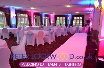 Pink and Blue mood lighting in the Towneley suite