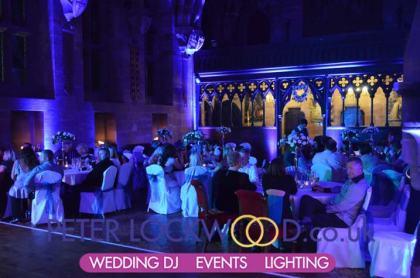 peckforton castle purple wedding uplighting
