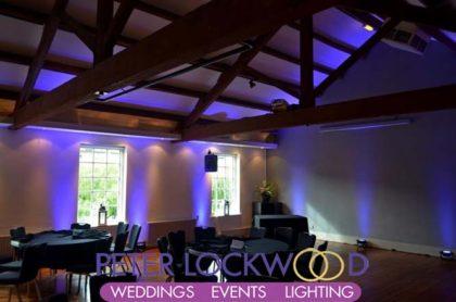 Purple wedding lighting in castlefield rooms