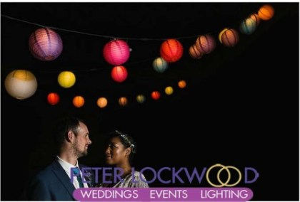 festoon lights with paper lanterns