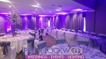 wedding uplighting in the red hall hotel bury