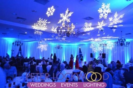 winter-wonderland-blue-wedding-lighting-with-projected-snowflakes-at-Kilhey-Court-Hotel-Wigan