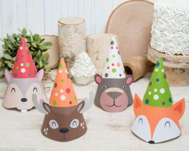 Forest Theme Birthday Party Caps